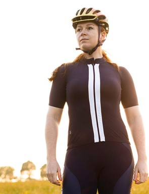The new Rapha women's Souplesse jersey is available in black, cherry red and navy (pictured)
