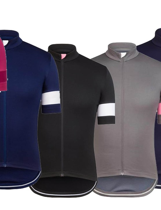 Rapha has updated the Classic Jersey, with four colourways for the men's version (left) and two for the women's version (right)
