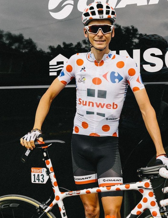 Even Barguil's handlebar tape received the polka dot treatment