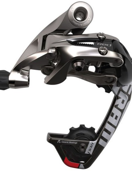 A medium cage, SRAM Red WiFli rear mech designed for large road cassettes