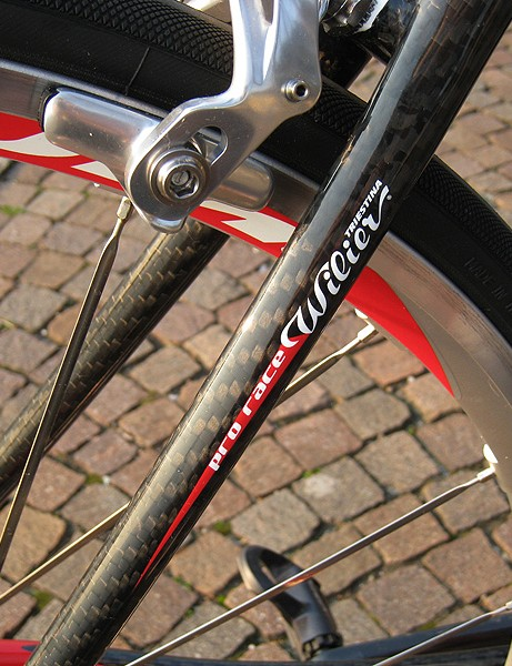 The thin seat stays provide a noticeable amount of bump-eating flex.