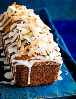 This coconut loaf is moist and packed full of tropical-tasty coconut flavour