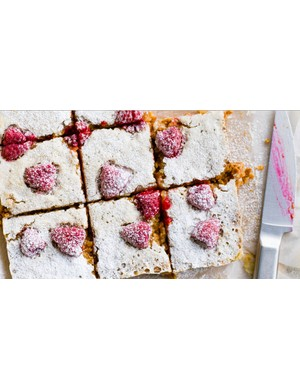 Raspberry and lemon flapjacks; fresh, fruity and a nice change from the classic recipe