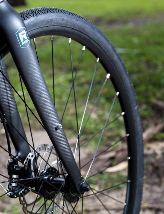 It's quite a surprise to see carbon fork on a bike this cheap