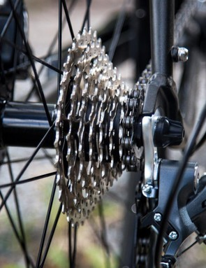 The Claris 8-speed cassette provides plenty of range, but there are some pretty big gaps between the gears