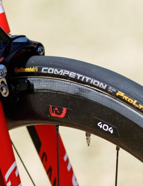 Katusha have moved from Mavic wheels and tyres (rebranded VeloFlex) to Zipp and Continental respectively