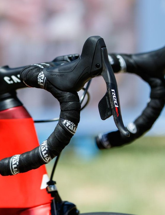 SRAM's new eTap shifting provides for a clutter-free look on the bike