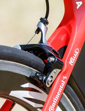 The Canyon Aeroad CF SLX uses direct-mount rim brakes in easily accessed positions. SRAM doesn't offer such a product and so Katusha have picked Shimano Dura-Ace calipers