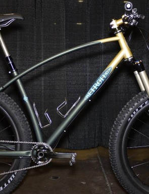 Curtis Inglis showed this Retrotec 27.5+ bike in Sacramento. With a long travel fork, dropper post and iconic curved tubes, it was a crowd favorite