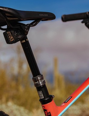 The new RockShox Reverb AXS does away with any cabling or hydraulic hose and works wirelessly (using SRAM's secure, encrypted wireless network) at the touch of a button