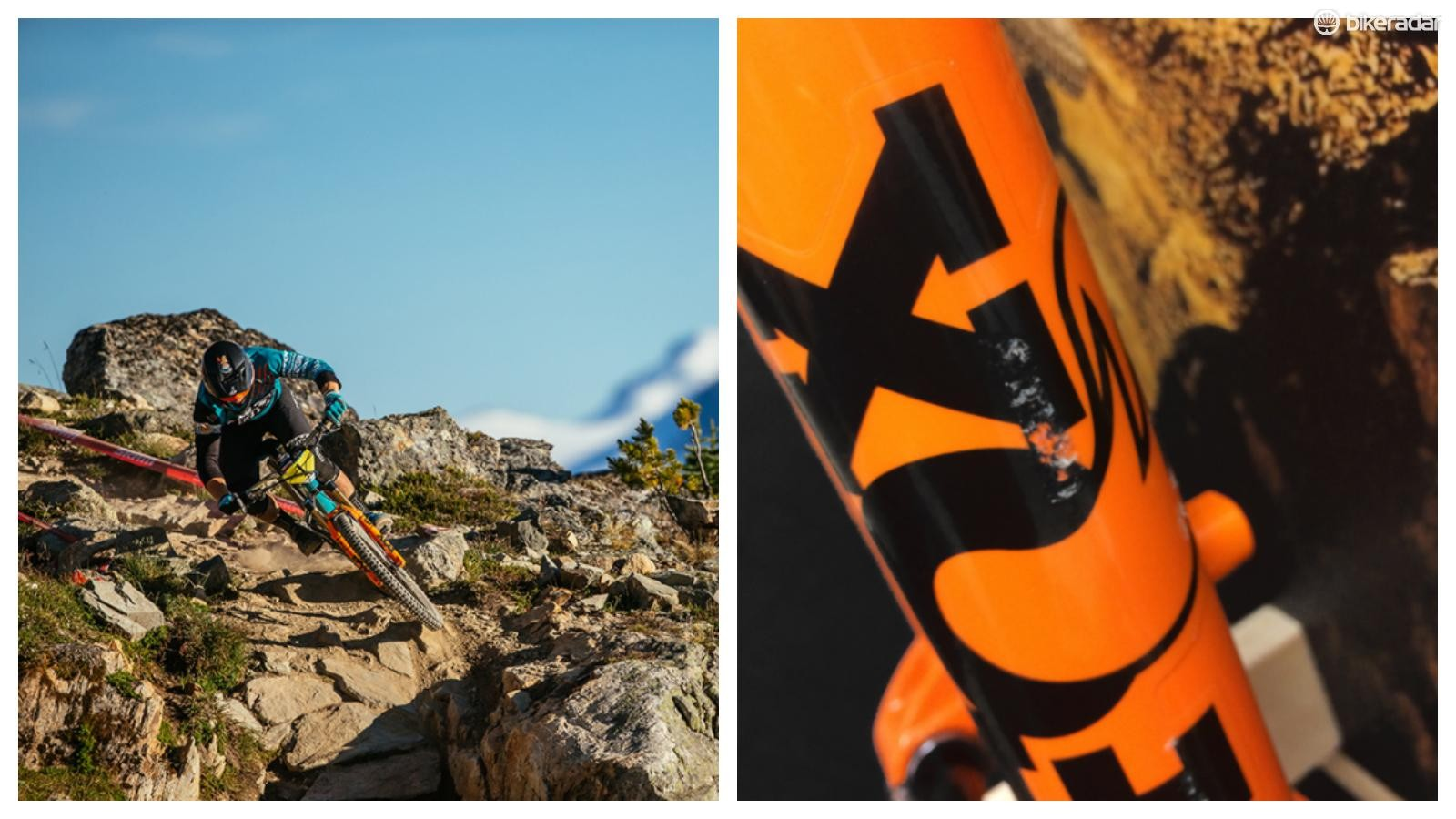 EWS champ Richie Rude's Fox 36 comes with a battle-tested patina