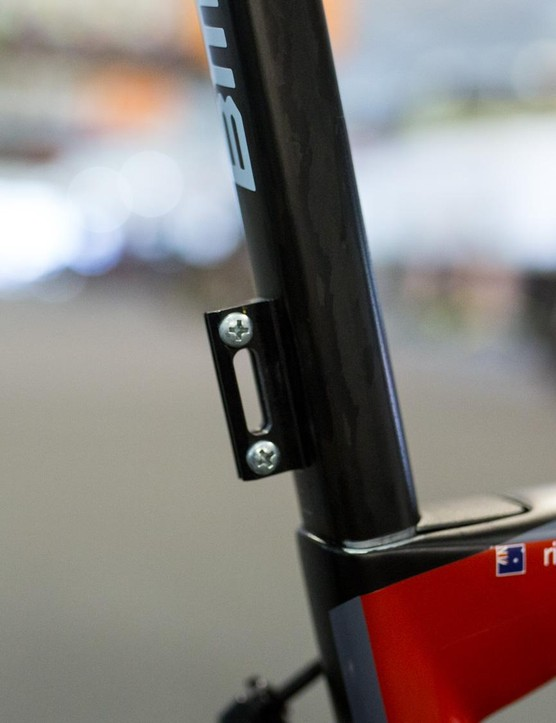 The flat back on the TM SLR01's seatpost makes the perfect surface for a stick-on number holder