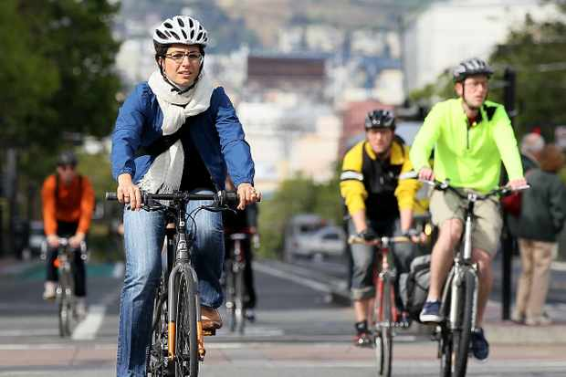Cyclists in San Francisco on National Bike To Work Day