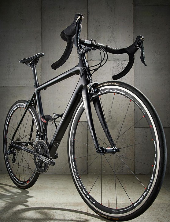The svelte carbon frame has understated, angular lines