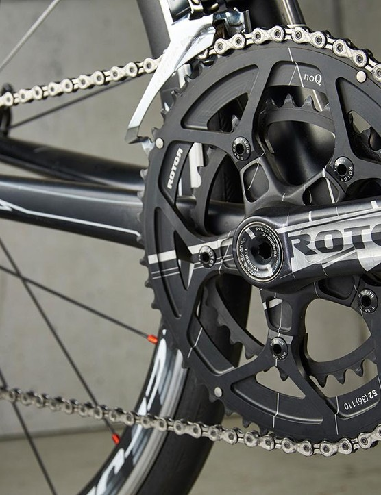 …while Ridley has gone for a 'pro-compact' 50/36 Rotor chainset