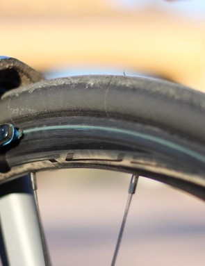 Ridley's house-brand Forza carbon wheels accelerated nicely with no brake rub, but hard braking coaxed out some squeals