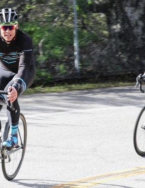 Is it ironic for a heavy rider like myself (in black and blue camo) to test a climbing bike? Perhaps! But I'm also a good test dummy because I can get some bikes or wheels to flex that lighter riders cannot. The Helium SLX and the carbon Forza wheels passed the big-guy test