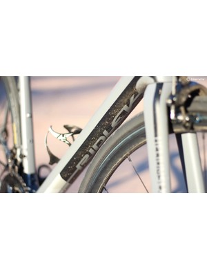 The stout down tube helps anchor the bike's side-to-side stiffness
