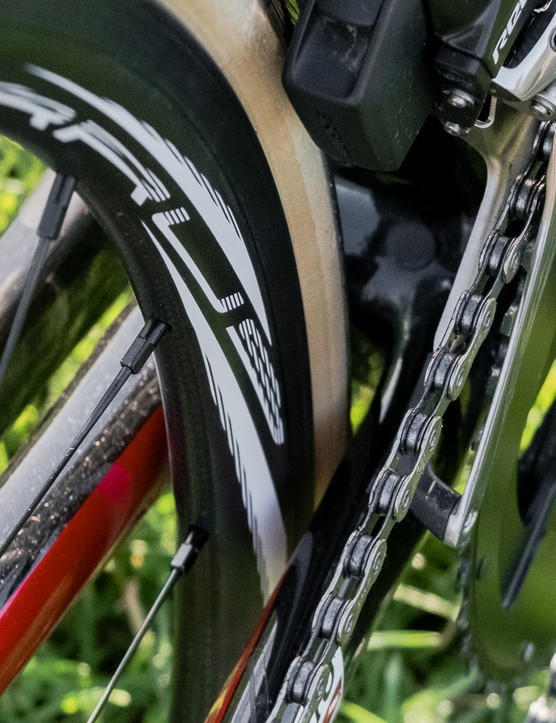 The bike is fitted with 25mm Vittoria Corsa tyres, but there's plenty of clearance for wider rubber