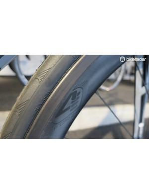 The new 4za carbon clinchers have a wider rim shape and bang up to date blunted profile