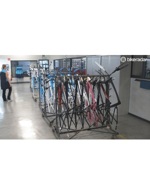 Custom finish and standard bikes are all mixed in together within Ridley's low-volume production