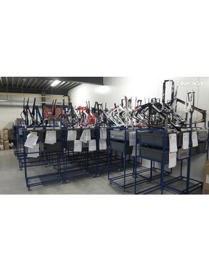 Once each frameset is painted it's allocated a trolley where it meets all of its component parts