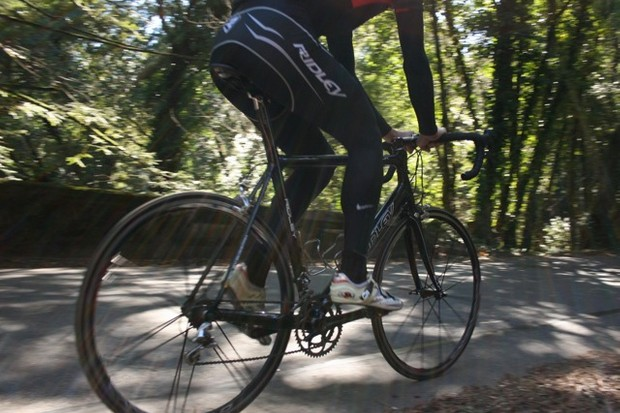 The 2008 Ridley Helium in action on Old LaHonda Road in Woodside, CA.