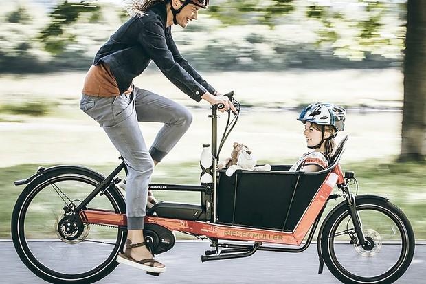 Ebike rider carrying child