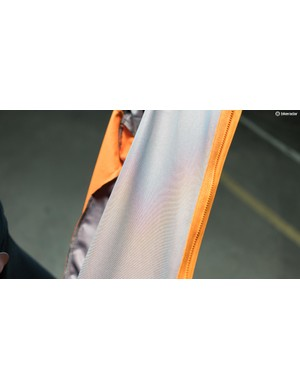 Reflective heat-transfer strips on the inside of the jacket add an element of warmth