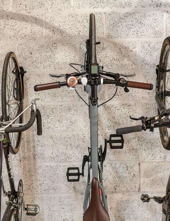 Different bikes on wall. Road bike vs mountain bike.