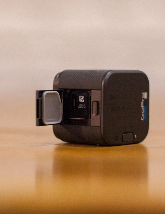 Here's where the SD card and USB-C charging port go on the GoPro Hero 5 Session
