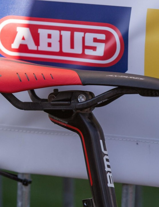The Fizik Antares is the Olympic champ's perch of choice, whether riding smooth road or rough cobbles