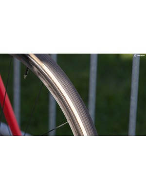 Van Avermaet raced on 30mm unmarked Vittoria tubulars