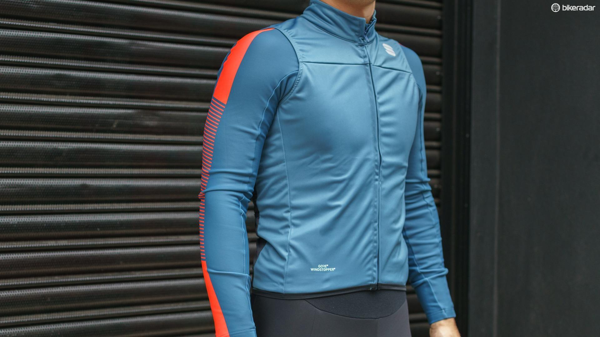 Sportful's BodyFit Pro wind vest worn over the BodyFit Pro Thermal jersey