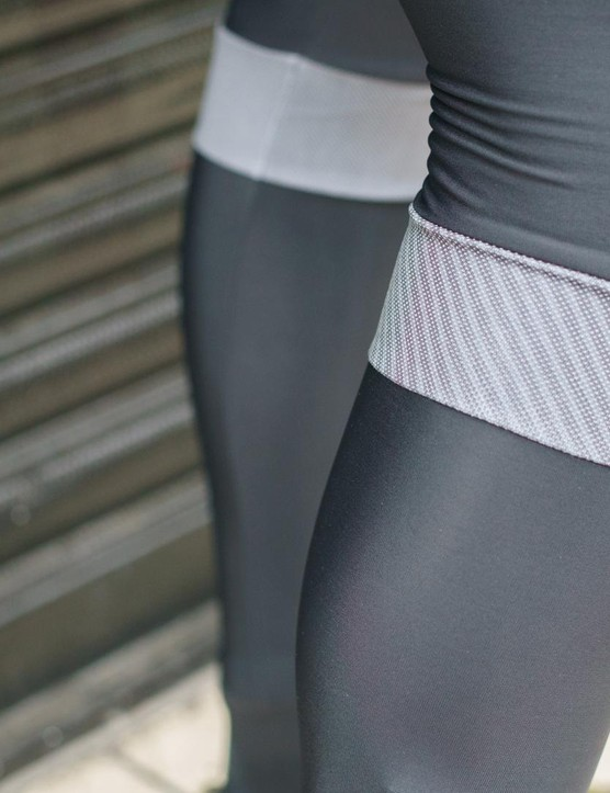 The BodyFit Pro bib tights feature a reflective band around the top of each calf