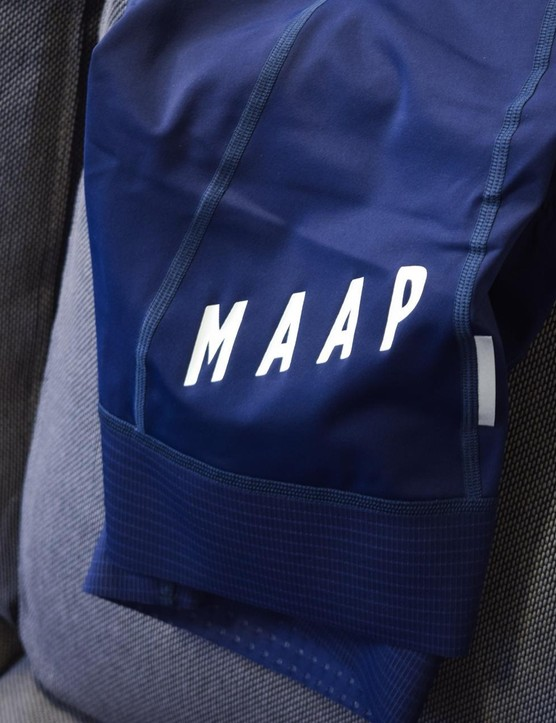 Instead of using silicone grippers, MAAP has bonded two layers of material at the leg cuffs for a secure fit