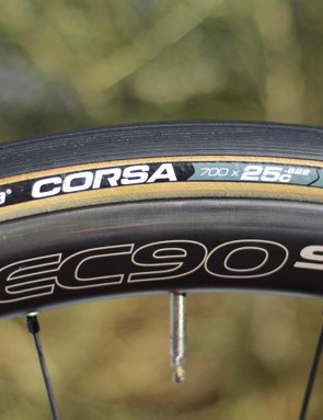 Vittoria claims improved rolling resistance and cornering grip from the the graphene in the rubber compound