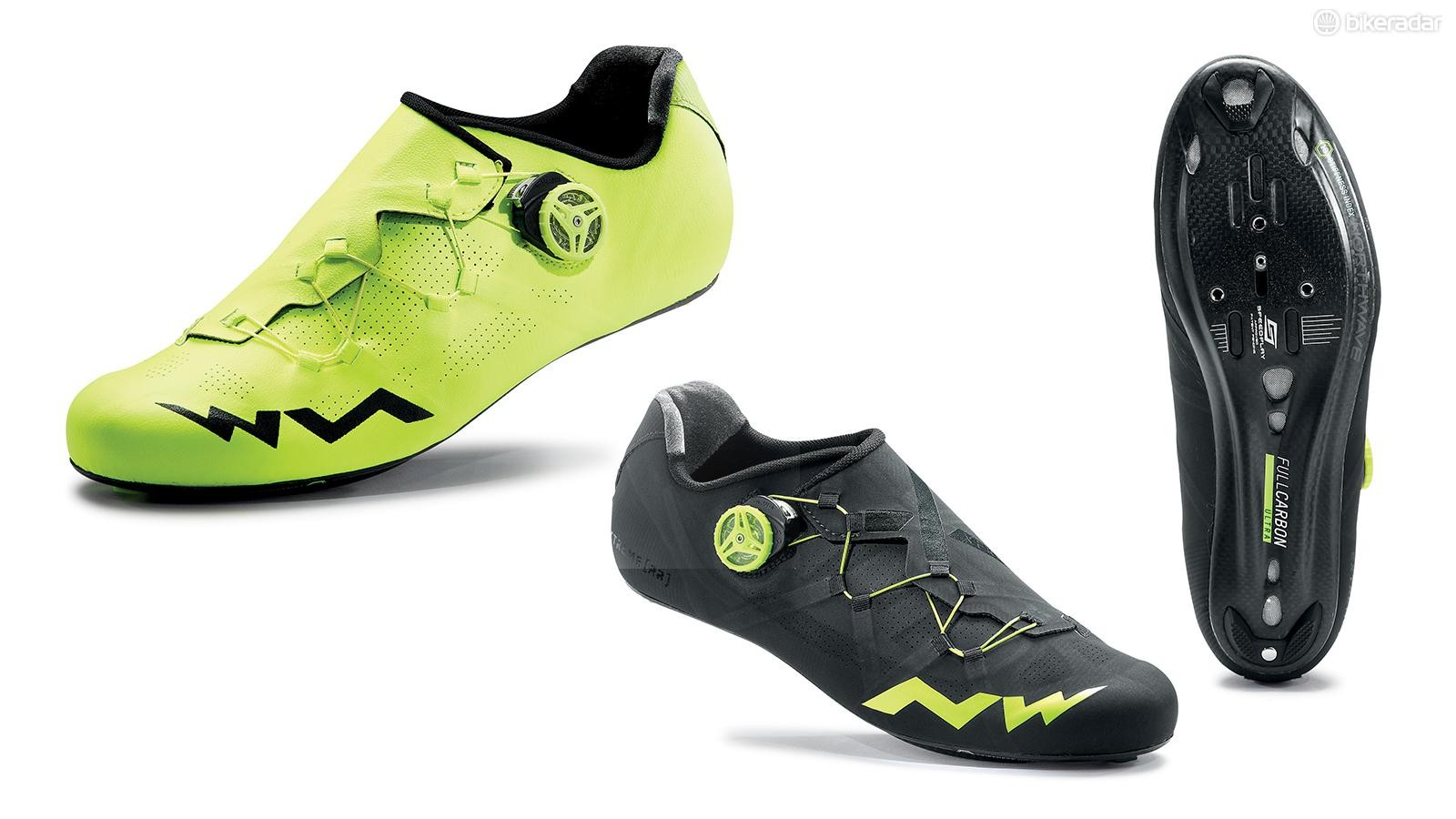 Road-cycling shoes have a stiff sole for good power transfer