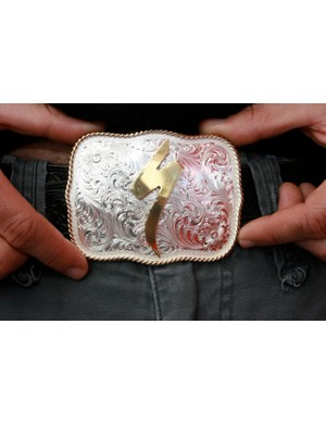 A limited-edition belt buckle for 25 international Specialized distributors.