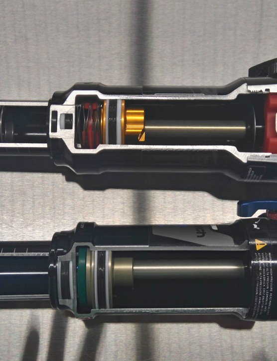 The Deluxe (top) takes advantage of metric sizing to increase the bushing overlap over the Monarch (bottom). This is claimed to reduce friction in certain situations