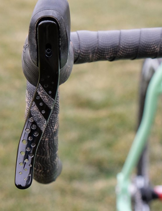 The Hylex RS levers are stylish, but lack grip. A few strips of grip tape made them easier to grasp in the wet