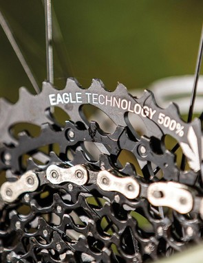 SRAM GX Eagle takes care of shifting duties, with its massive 500 percent gear rage