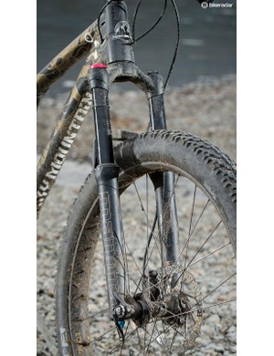The WTB TrailBlazer treads roll well on hardpacked trails but are disappointing on rockier stuff or in mud