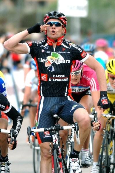 Cycling : Tour of Mallorca / Stage 2 Arrival / ROJAS Jose Joaquin (Esp) Celebration Joie Vreugde / REYNES Vicente (Esp) /  VAITKUS Tomas (Ltu) / WEYLANDT Wouter (Bel) Cala Millor - Cala Bona (159,7 Km) Ronde van Majorca / Rit Etape (c)Tim De Waele