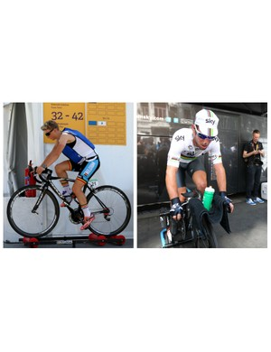 Rollers (on the left) and turbo trainer (on the right) both have their uses, for different applications