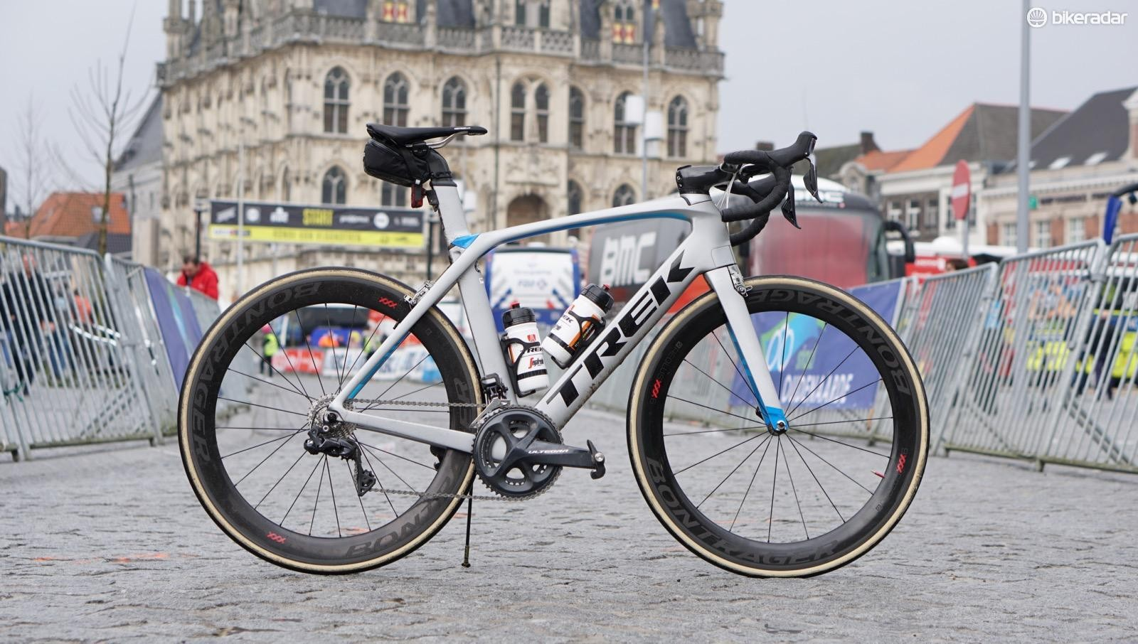 The Trek Madone with new Bontrager Aeolus XXX wheels placed second in the 2018 Ronde van Vlaanderen... under Mads Petersen. Under me, it placed, uh, 5,425th or so in the Ronde sportive