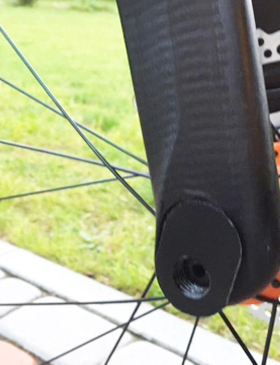 The mount points for the thru-axle can be removed and flipped to change the geometry