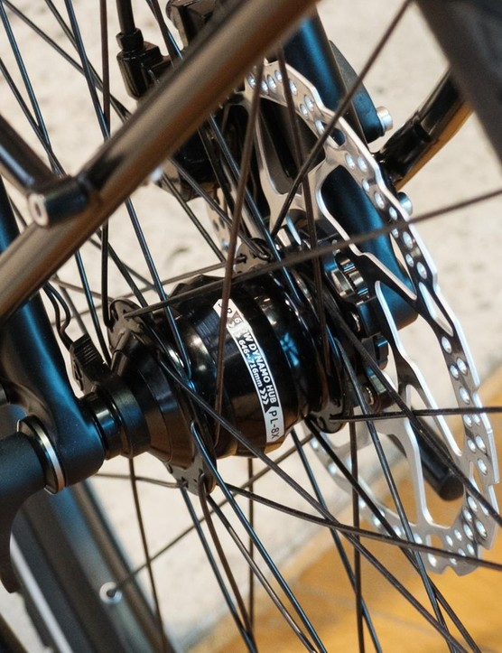 The front wheel is built around a SON dynamo hub...