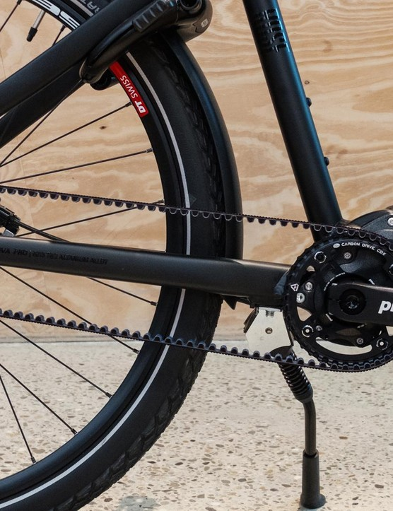 The bike is built around a Pinion gearbox