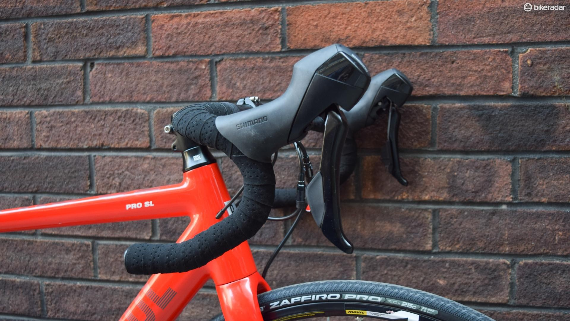 Shimano's RS505 hydraulic levers are aggressively unattractive, but effective